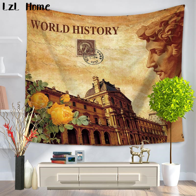 LzL Home World History Celebrity Statue Tapestry Retro Home Decor ...