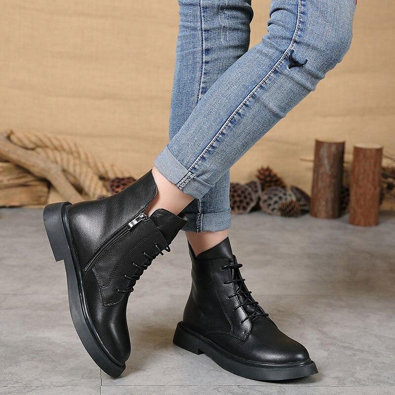 Herfst en winter nieuwe vrouwen schoenen plus fluwelen warme laarzen vrouwen casual mode lederen Martin laarzen-in Enkellaars van Schoenen op  Groep 3