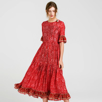 silk floral dress summer maxi women beach 2018 red paisley dresses long plus size boho sexy party casual elegant office slim fit