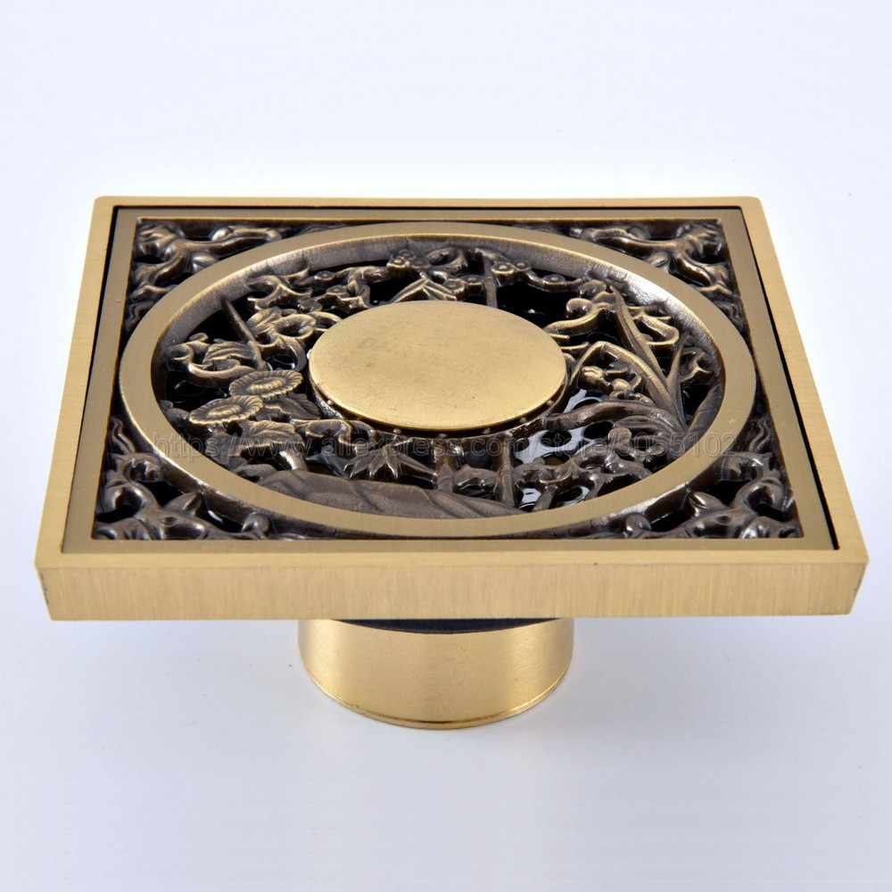 Antique Brass Dreno De Assoalho Do Chuveiro/Uso Material de Bronze Do Banheiro Varanda Telha de Drenagem Rápida Inserção Praça Drenos zhr073