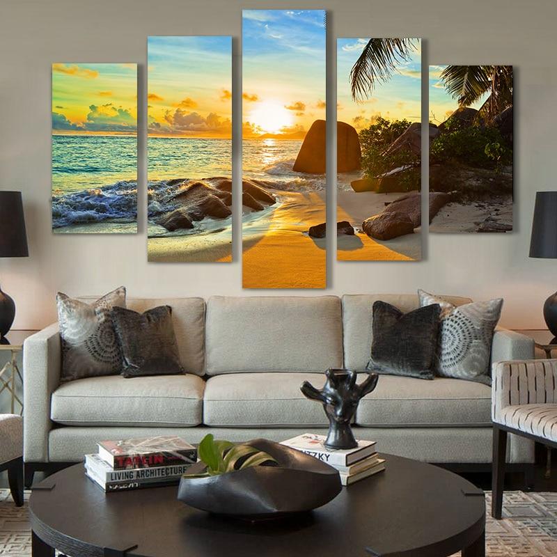Արվեստի 5 կտոր արևի կղզու լանդշաֆտ - Տնային դեկոր - Լուսանկար 1