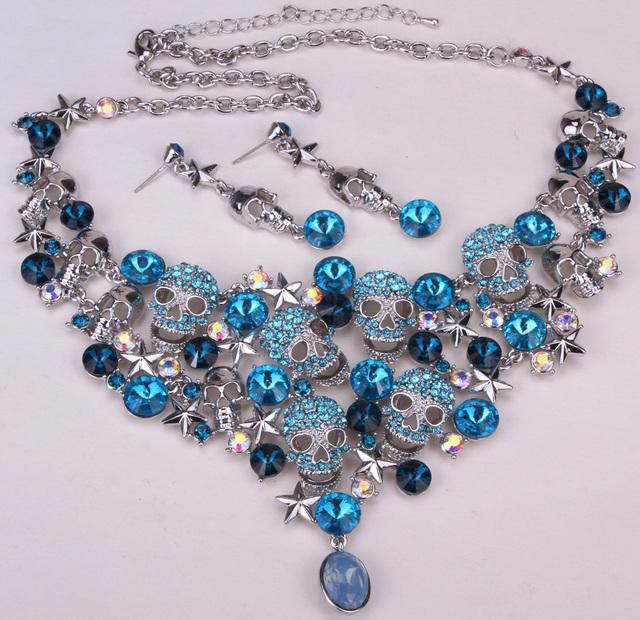 Crânio estrela colar brincos conjuntos mulheres jóias motociclista presentes W/cristal antigo banhado a prata NC03 atacado dropshipping