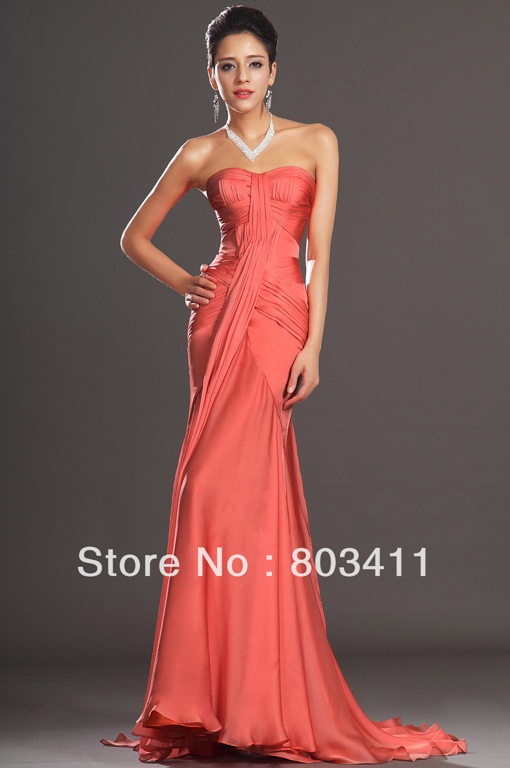 FreeShipping New Arrival Elegant Strapless A-Line Sweetheart Neckline Orange Chiffon   Evening     Dress