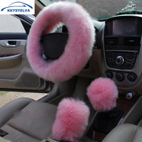 KKYSYELVA Fur Pink Warm Car   steering   wheel   cover   Winter Black Auto Interior Accessories 38cm Automobiles   Steering  -wheel   Covers