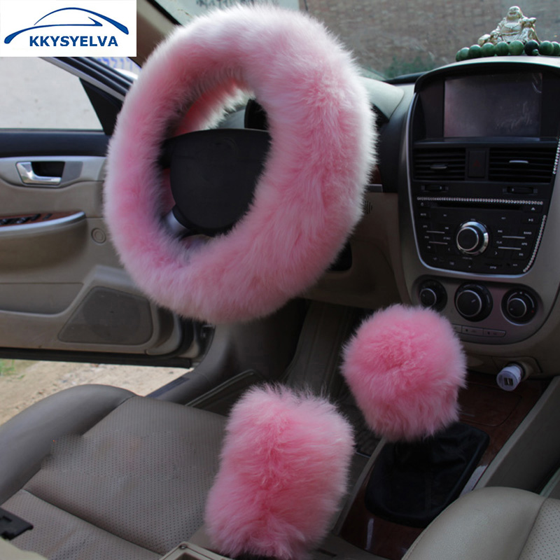 KKYSYELVA Fur Pink Warm coprivolante per auto Winter Black Auto Interior Accessori 38cm Automobiles Steering-wheel Covers