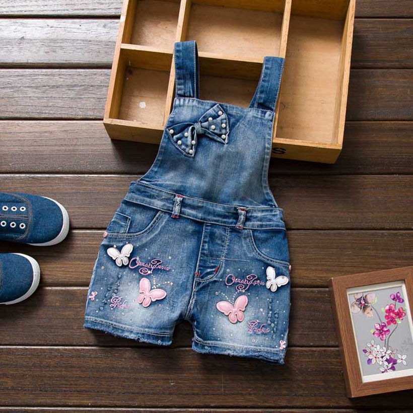 Summer Cotton Infant Bib Overalls Thin Denim Lovely Baby Short Pants Boy and girl baby Fashion Loose kids jeans shorts for Girl
