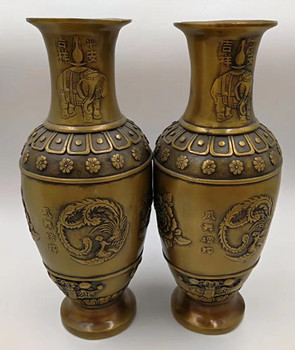 Chinese archaize Brass handmade Blooming flowers vase A pair Statue