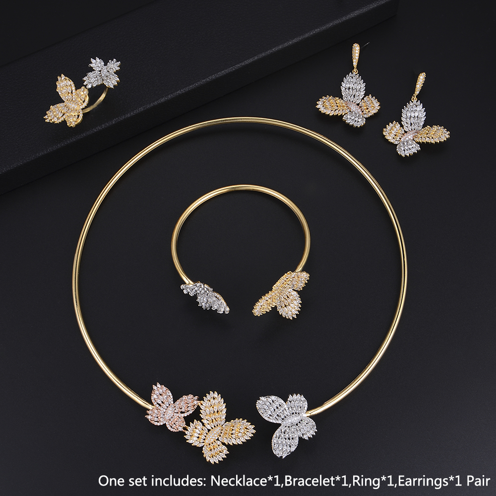 Bicolors Fashion Vivid Butterfly Adjustable Necklace Bracelet Earrings Ring Full Micro Cubic Zirconia Sets Dress Jewelry SetsBicolors Fashion Vivid Butterfly Adjustable Necklace Bracelet Earrings Ring Full Micro Cubic Zirconia Sets Dress Jewelry Sets