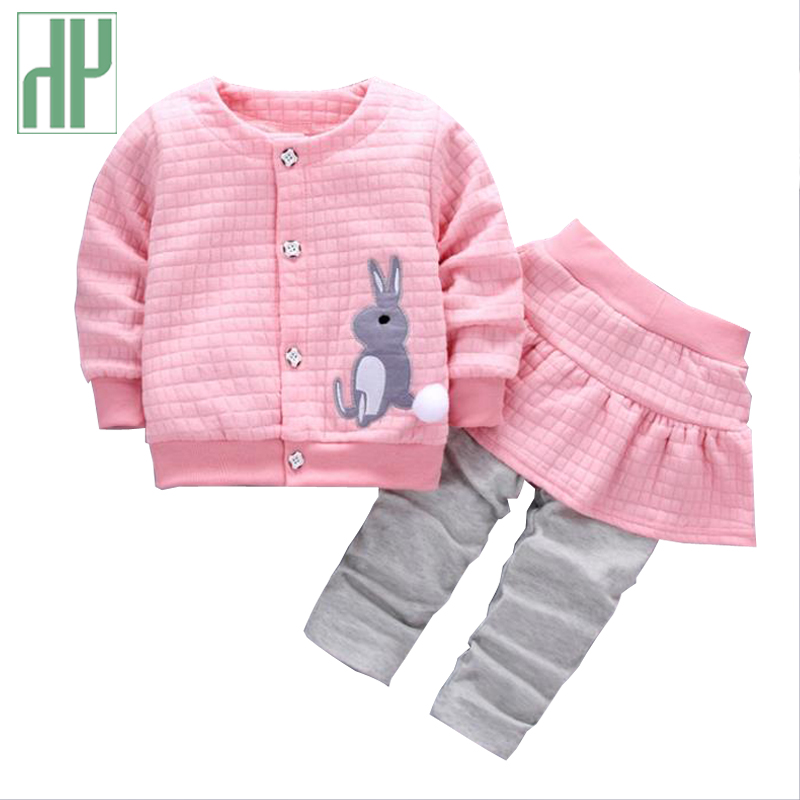 HH Toddler girl clothing Autumn Long Sleeve two piece set Outfit Infant Children Suit rabbit kids clothes for sale 1 2 3 Years fashion brand autumn children girl clothes toddler girl clothing sets cute cat long sleeve tshirt and overalls kid girl clothes