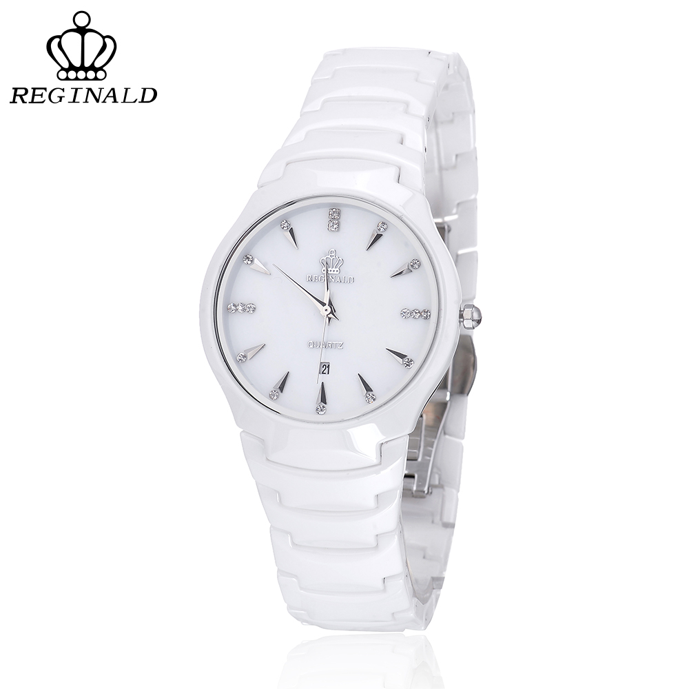 REGINALD Brand Luxury Quartz Watch Men Ceramic Couple Watch Women Watches Crystal Horloges Mannen Montre Femme Reloj Mujer