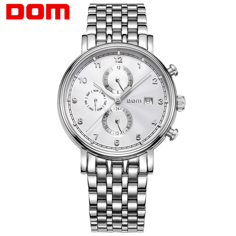 DOM Men's Watch brand Waterproof Mechanical Stainless Steel Watch Business Round Wrist Watch for Men Clock Man New M811D natate men new business clock fashion men watch full gold stainless steel quartz wrist watch chenxi waterproof watch 0140