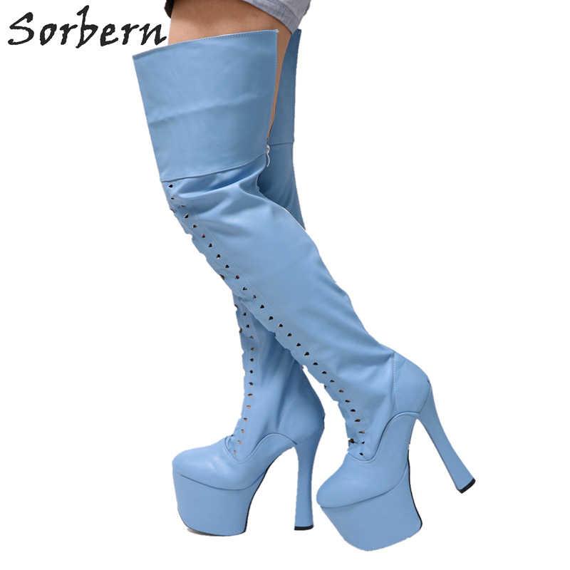 Sorbern Light Sky Blue Matt Thigh High Boots For Women Chunky Super High  Heeled 9Cm Platforms ab1f468c1cc8