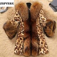 1d3b9f51e5b ... Bont Mouwloos Vest Femme Fall Winter Jassen voor vrouwen. 2019Fashion  Winter Women Faux Fur Leopard Warm Coat With Raccoon Dog Collar Faux Fur  Poncho ...