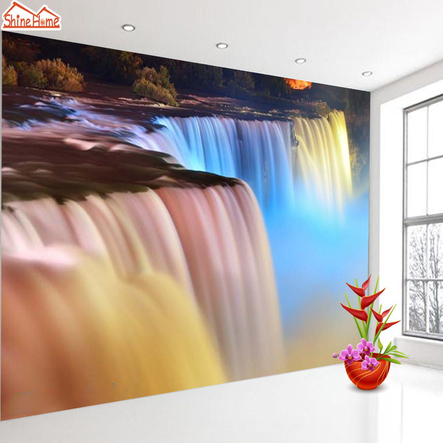 ShineHome-Fantastic Waterfall Water Flow Colorful Wall Paper 3d Wallpaper for Walls 3 d  Living Room Background Wallpapers shinehome lovely lily blossom flower wallpaper for bedroom murals roll for 3d walls wallpapers for 3 d living room wall paper