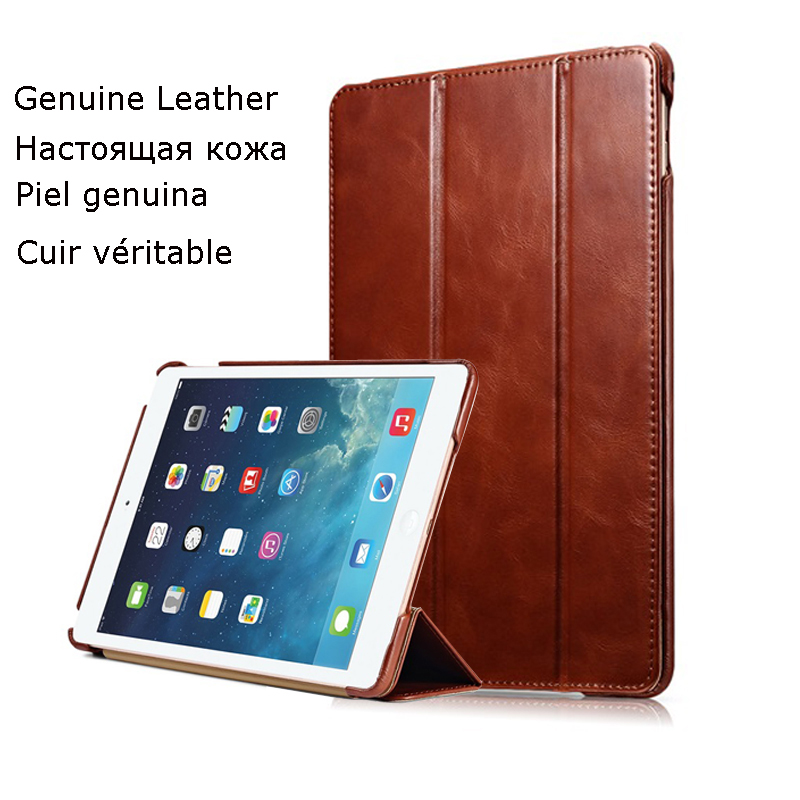 ICARER Case for iPad Air 2 Case Genuine Leather Auto Sleep/Wake Folio Flip Vintage Ultra-thin Standing Case for iPad Air 2 Cover