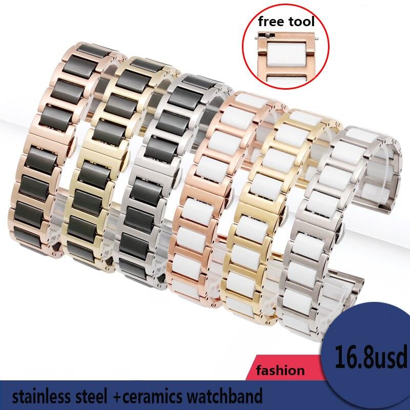 Image 2 - high quality Ceramic bracelet For Fiyta Four leaf clover waterproof mechanical watchband femal wristband 14mm 16mm 18mmWatchbands   -