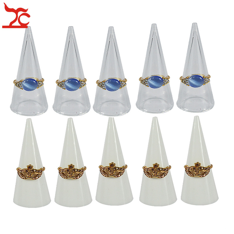 5Pcs/Lot Fashion Single Finger Ring Holder Triangle Cone Fingertip Acrylic Ring Storage Display Organizer Stand Wholesale