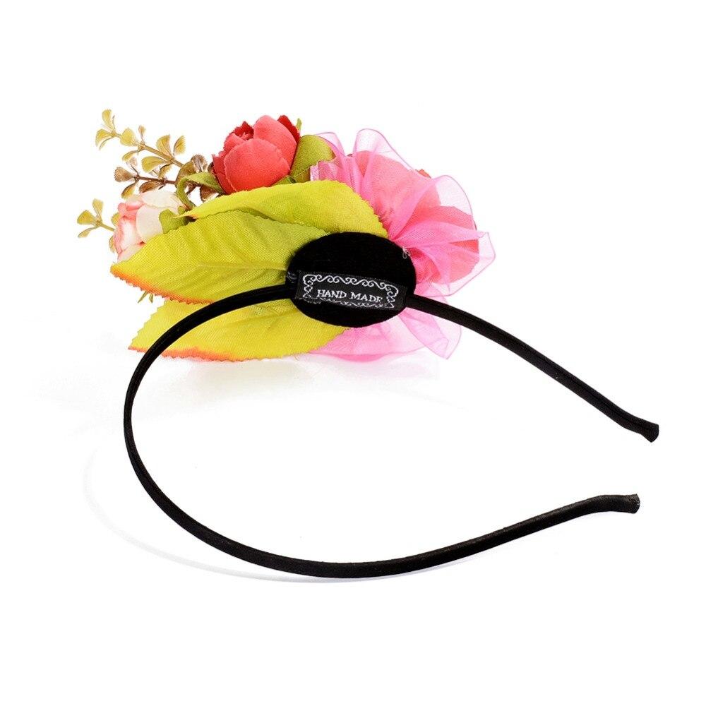 ᐂ4 Color hoja Rosa flor aro del pelo del partido del festival ...