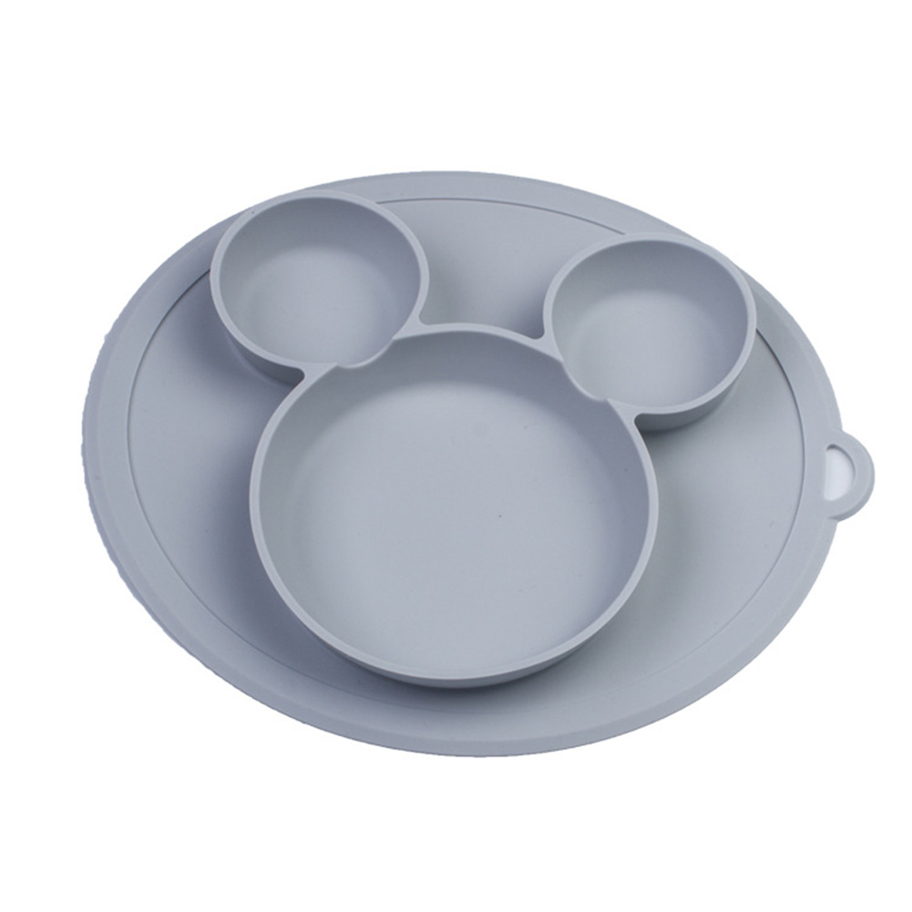 Baby Feeding Kids Non Slip Safe Silicone Bowls Cute Cartoon Tableware Food Children Dining Plate Solid Dishes Tray Training