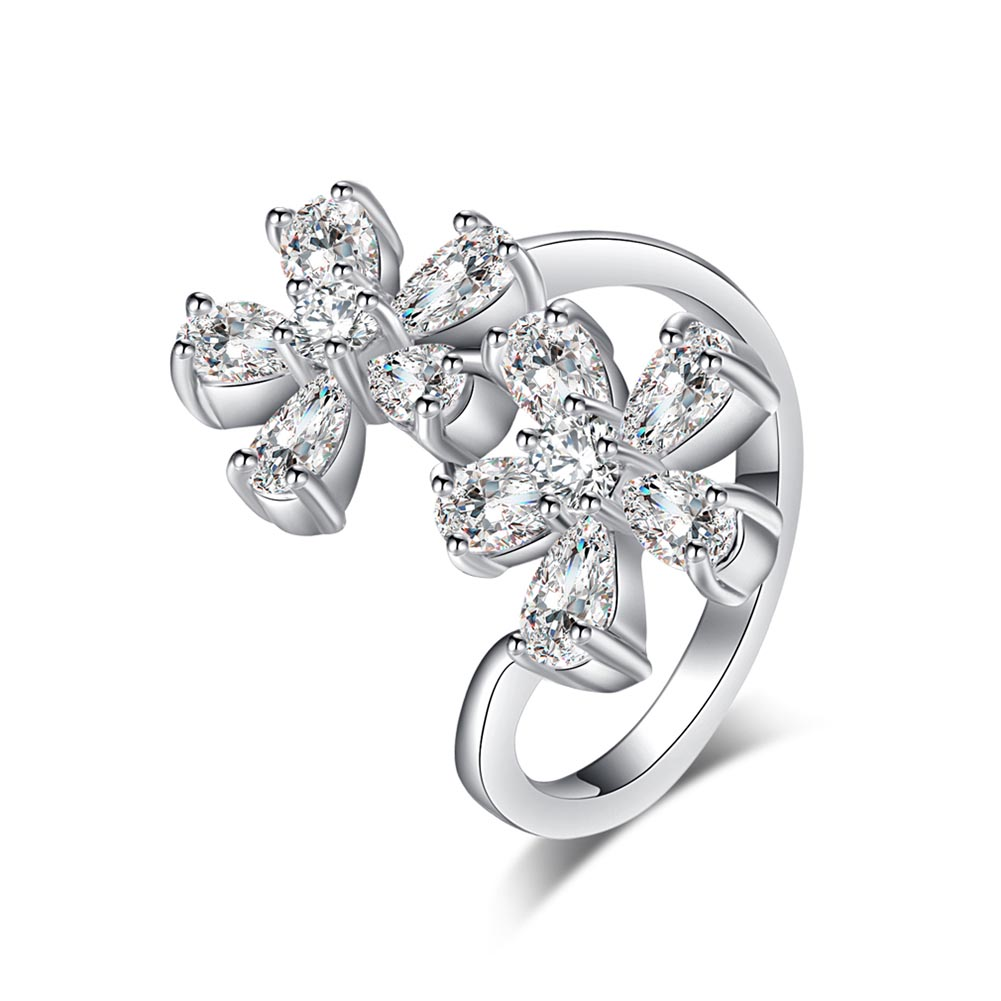 New Arrival Fashion Jewelry Finger Rings For Women Sliver-color Inlay Double Flowers Rhinestone Lady Wedding Rings