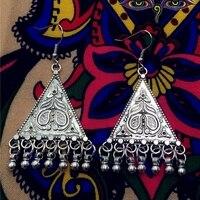 La Tribu de Oriente medio de La India Tradicional Hecho A Mano Antiguos Pendientes de La Borla Retro Triángulo de Plata Antigua Pendientes BOHO de Tailandia