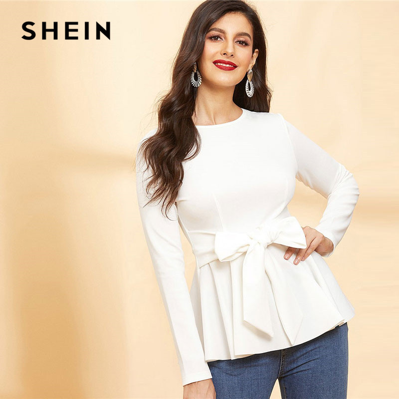 107bcd18 SHEIN Women Spring Casual Waist Belted Solid Peplum White Top Office Lady  Elegant Workwear Minimalist Bow