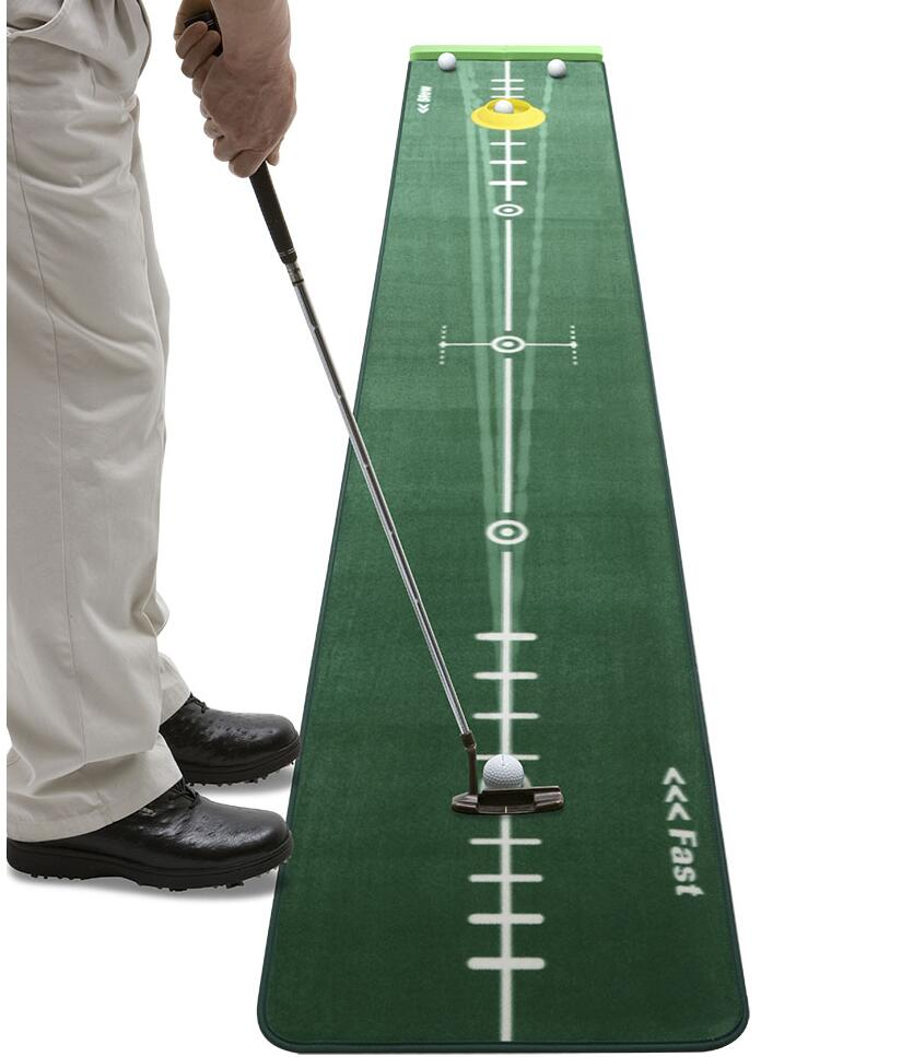Track Putting Mat Edition 2, Medium, 300 x 50 Centimeter, Including Ballstopper, Realistic Silicone Putting-Cup, Underlay Wedges golf putting mat mini golf putting trainer with automatic ball return indoor artificial grass carpet