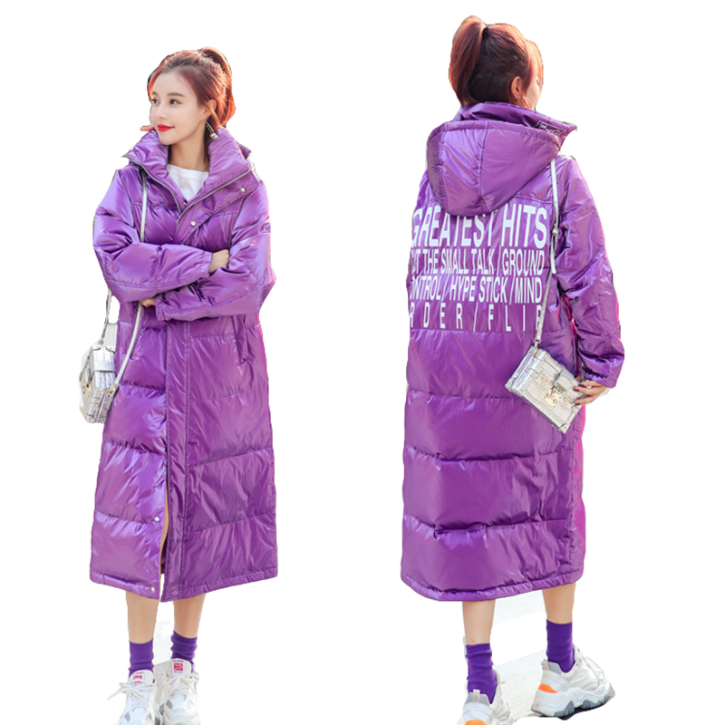 Winter long   down   jacket female thick warm   coat   women large size outwear fashion bright face loose hooded jacket woman   down     coats