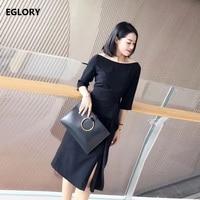 Nieuwe Koreaanse Kleding Office Lady Fashion Sexy Slash Hals Ruches Ontwerp Terug Zipper Elegante Zwarte Jurk Korte Vrouw Werk Jurk