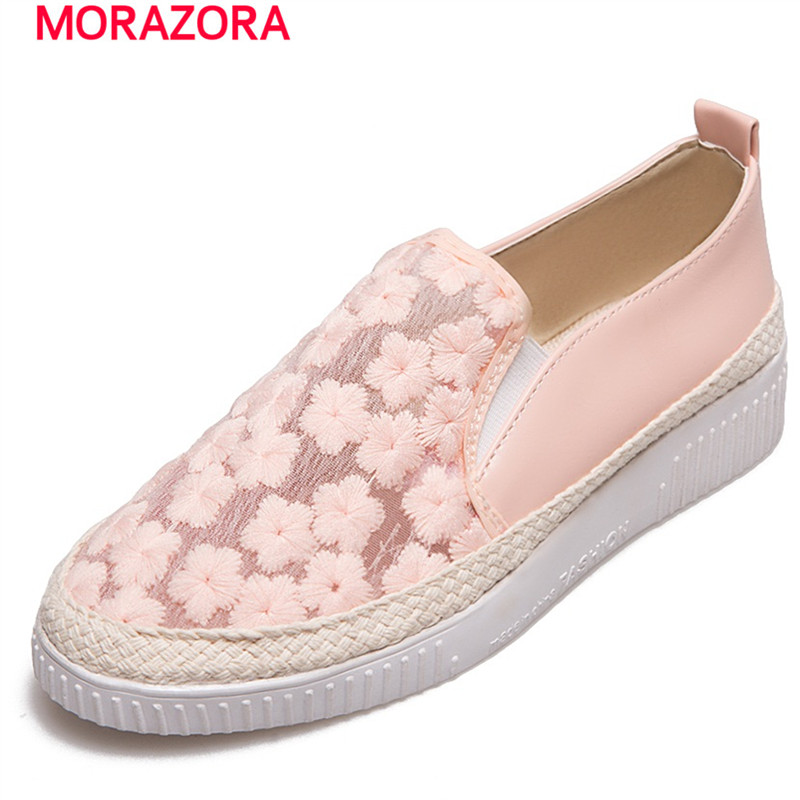 MORAZORA Spring autumn loafers shoes woman round toe big size 33-43 flats platform shoes fashion comfortable jacobs girls fashion punk shoes woman spring flats footwear lace up oxford women gold silver loafers boat shoes big size 35 43 s 18