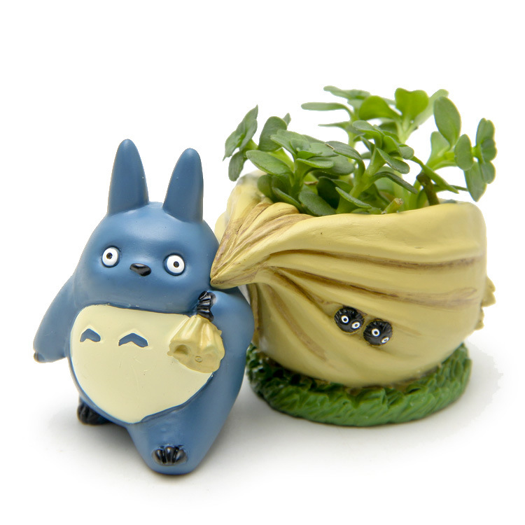 все цены на Mini My neighbor Blue Totoro figurines with bag flower pot toy set 2016 New Japanese anime totoro action figure home decoration