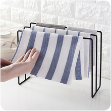 Japanese stlye wrought iron desktop towel rack tea cloth hanger holder Drying Racks Bar Hook Bathroom Kitchen Home Organization
