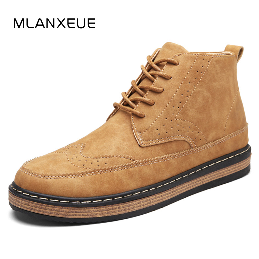 MLANXEUE New High-cut Men Martin Boots Fashion Leather Man Ankle Boots Casual Non-slip Male Shoes Plus Size Soft Sole Men Boots france tigergrip waterproof work safety shoes woman and man soft sole rubber kitchen sea food shop non slip chef shoes cover