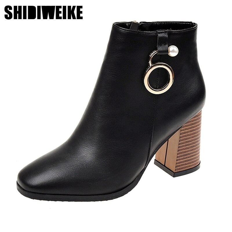 876d30a7576840 En Bootsthick A052 Zip Boot Cuir Martin Bottes Talon Cheville Main blanc  Haute Femmes Noir Noir ...