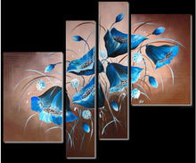 4PC Blue Flowers Modern Abstract Art Oil Painting Wall Decor canvas (No Framed)