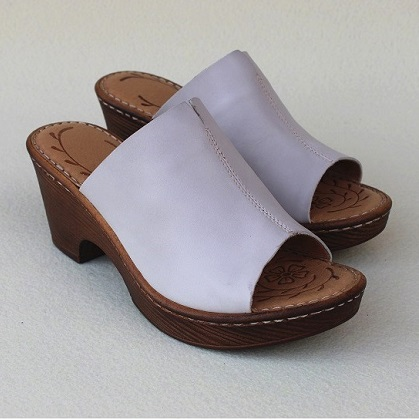 Careaymade Head Layer Cowhide Hand made sewn thick high heel fishmouth sandals summer Comfortable Increase slippers 3 colors in Slippers from Shoes