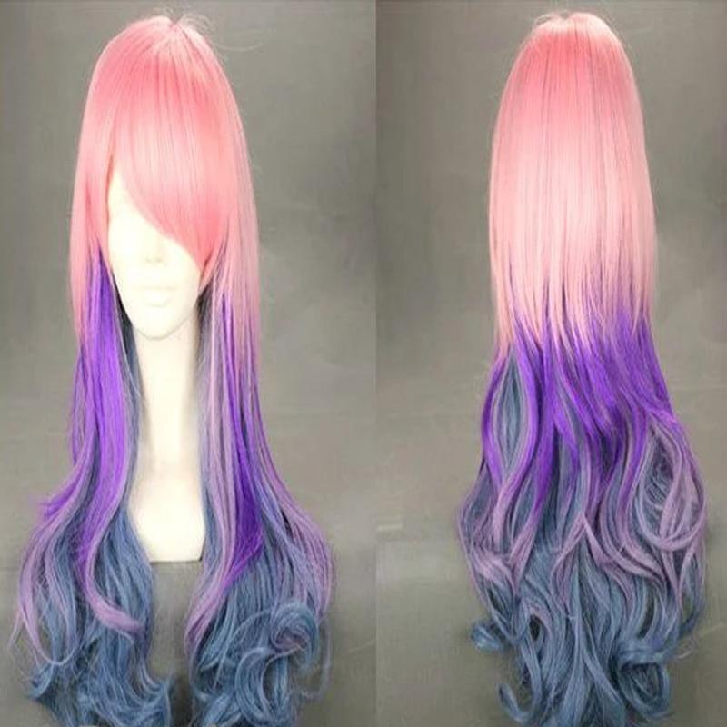 HAIRJOY Synthetic Hair Zipper 70cm Long Wavy Harajuku Lolita Cosplay Wig 18 Colors Available 119