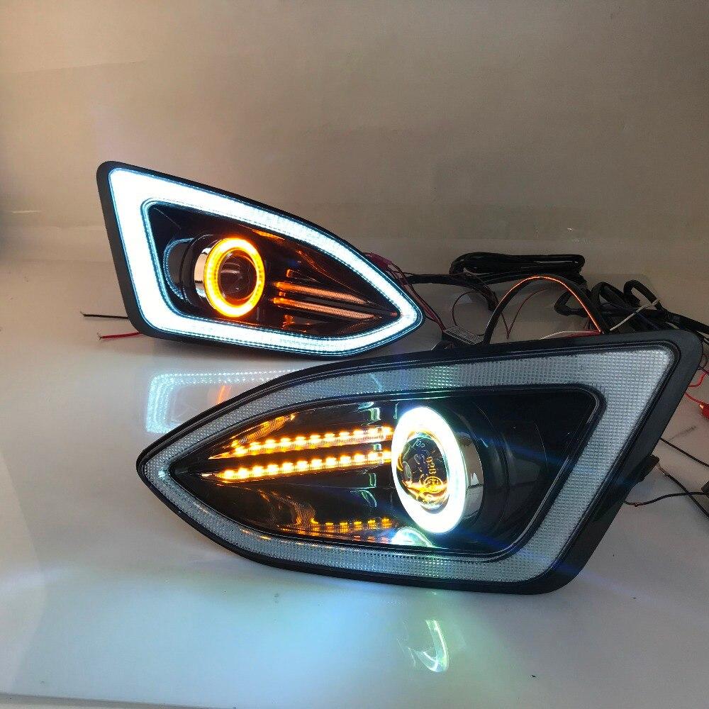 LED daytime running luz DRL + COB angel eye (6 cores) + lente do projetor + halogênio luz de nevoeiro + turn signal para ford edge 2015