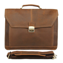 Rare Crazy Horse Leather Style Men's Business Briefcase Laptop Handbag Messenger Bag FREE SHIP #7083B crazy horse leather travel bags handbag men s messenger bag dispatch briefcase fit in 17 inches laptop 7083b