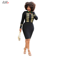 Black Dress 2019 Slim Elegant Spring Summer Bodycon Women Long Sleeve Dresses Sexy Safari Style Embroidered  sexy