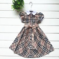 2017 summer style kids new explosion models plaid girl dress children dress princess sofia dress cotton