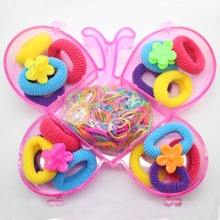 Popular Hair accessories butterfly box set colorful hair rings cute mini floral hairgrips mixing elastic hair bands for girls