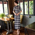 Free Shipping Top Quality Chinese Cheongsam Dress Long Qipao Plaid Dress Vintage For Women 2 Color