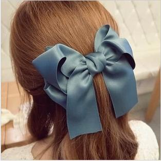 2019 Korea Sweet Solid Color Satin Bowknot Hair Clips Big Bow Hairpins For Women Girls Hairgrip Hair Accessories