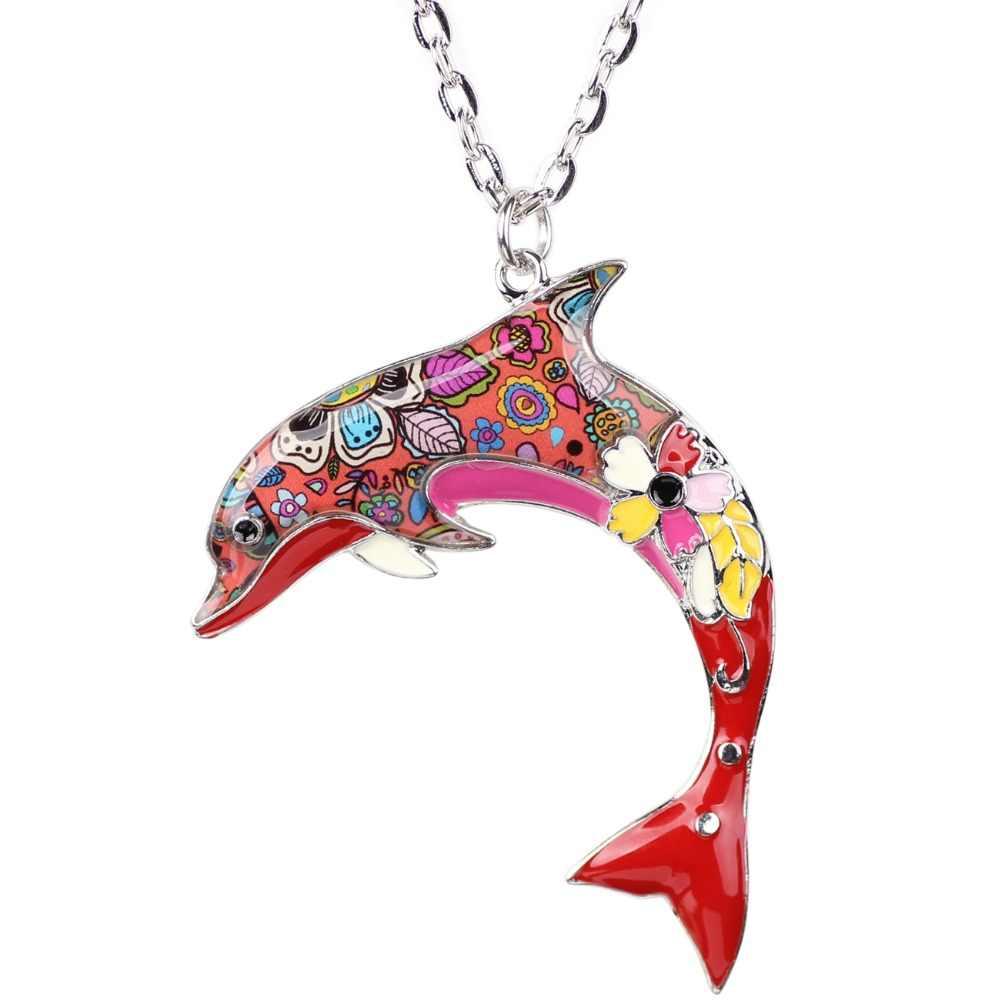 WEVENI Maxi เคลือบฟัน Dolphin สร้อยคอและจี้คอแฟชั่นอุปกรณ์เสริมของแท้ Ocean สัตว์เครื่องประดับสำหรับผู้หญิง