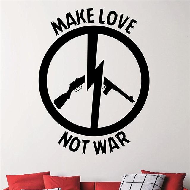 War Wall Sticker Peace Sign Vinyl Decal Interior Design Living Room Dorm  Bathroom Art Decor Waterproof Mural Wall Stickers M950
