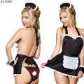 2017 new hot sale sexy lingerie hot maid costume babydoll +hat+love t-pant erotic lingerie sexy underwear pron erotic lingerie