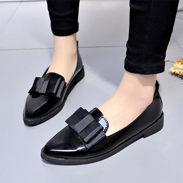 Plus Size Women Flats Pointed Toe Slip on Flat Shoes Woman Loafers Bowtie Ballet Flats Oxford Shoes Ladies zapatos mujer 7201