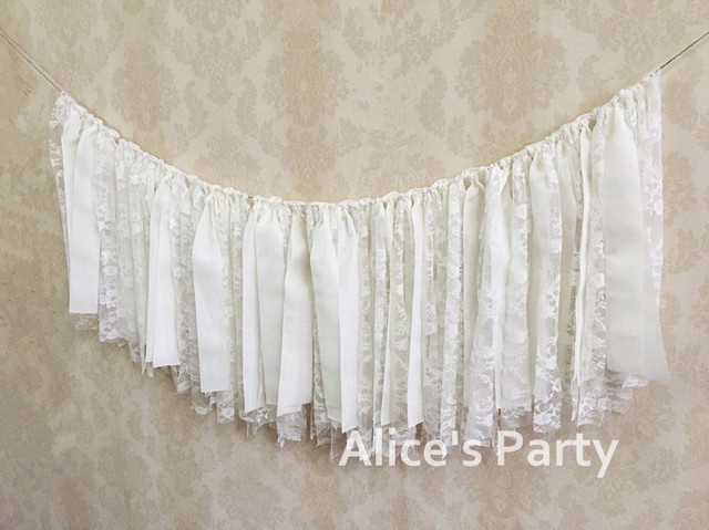 Custom White Lace Rag Banner Hot Rose Romantic Bunting Beach Wedding