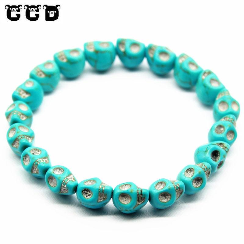 2018 European Buddha Bracelet Men Skull Charm India Labradorite 8mm Natural Stone Light Beads Bracelet For Men Handmade Jewelry